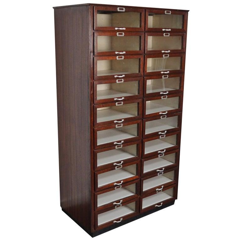 Vintage Dutch Mahogany Haberdashery Shop Cabinet, 1930s For Sale