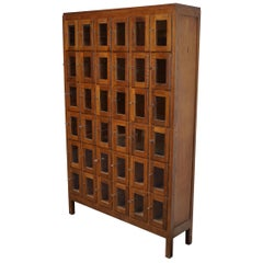 Vintage Dutch Oak Glass Door Locker Cabinet, 1930s