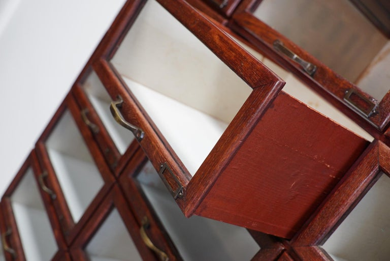Vintage Dutch Oak Haberdashery Shop Cabinet, 1930s For Sale 13