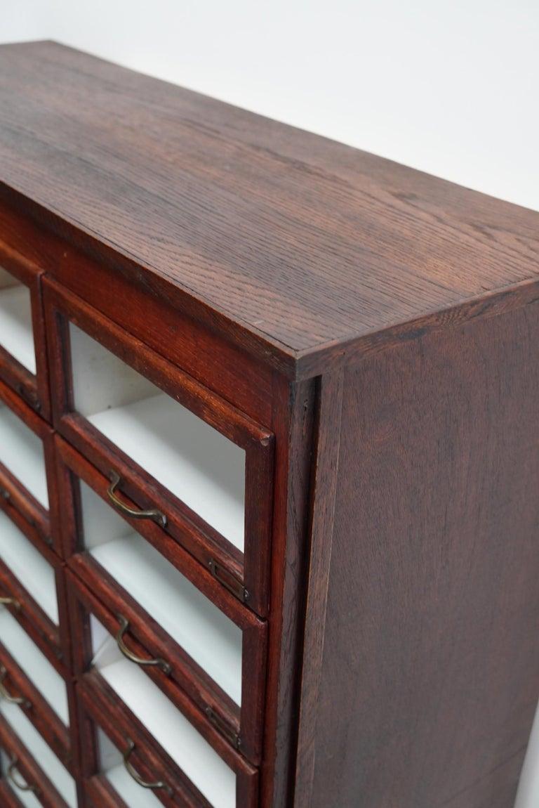 Vintage Dutch Oak Haberdashery Shop Cabinet, 1930s For Sale 14