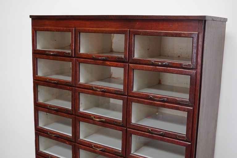 Vintage Dutch Oak Haberdashery Shop Cabinet, 1930s In Good Condition For Sale In Nijmegen, NL