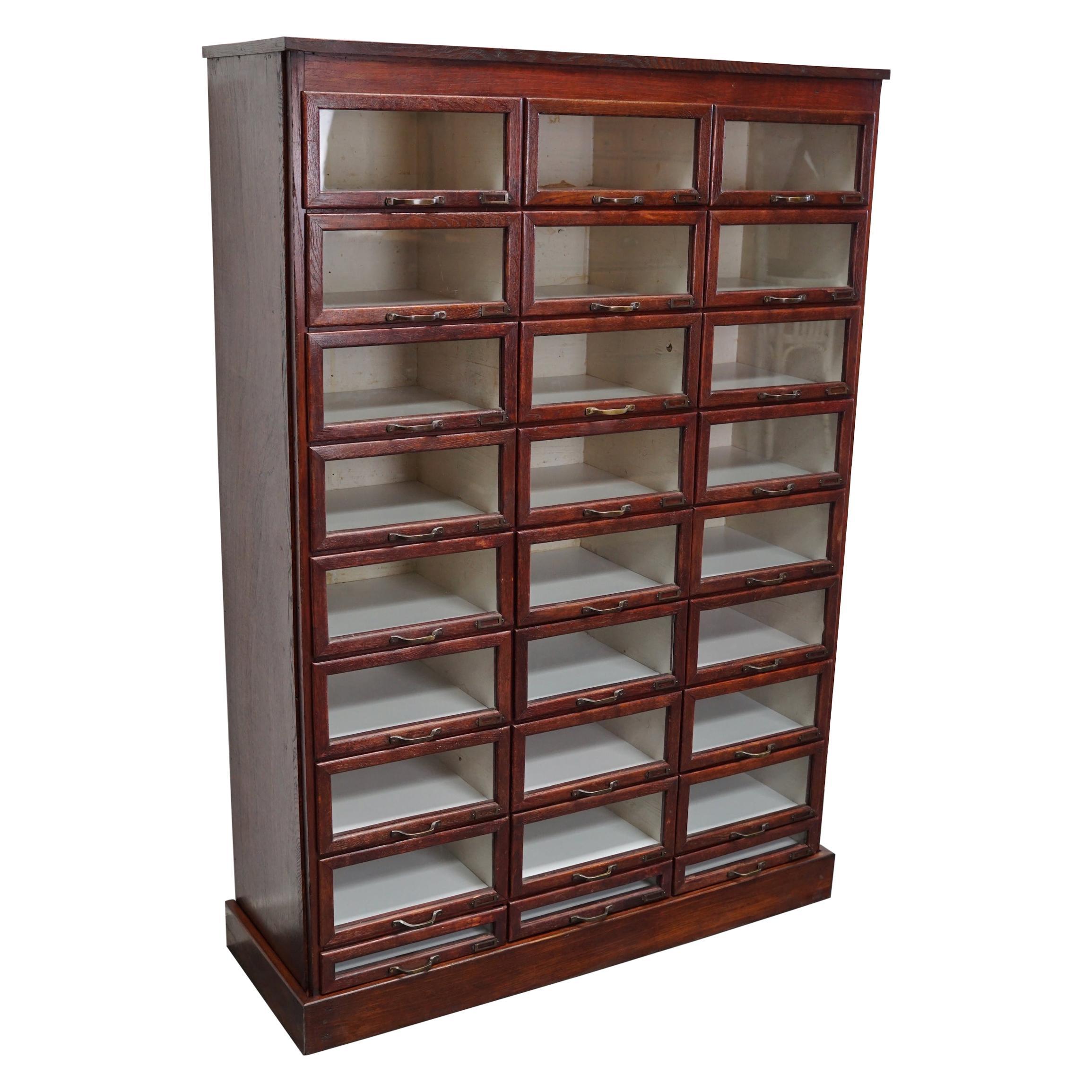 Vintage Dutch Oak Haberdashery Shop Cabinet, 1930s