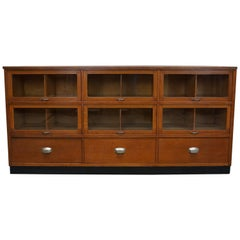 Vintage Dutch Oak Haberdashery Shop Cabinet, 1950s