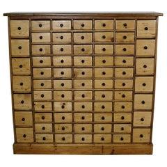 Vintage Dutch Pine Apothecary Cabinet, 1950s