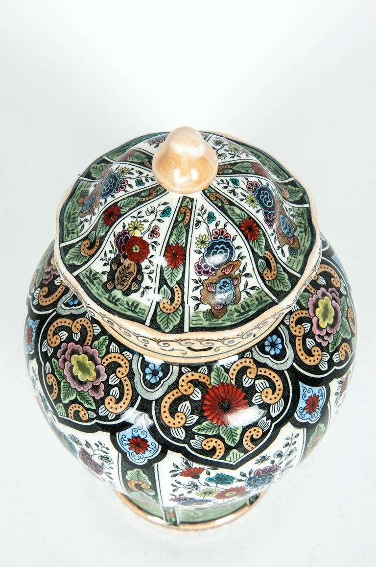 European Vintage Dutch Porcelain Covered Urn For Sale