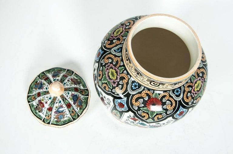 Glazed Vintage Dutch Porcelain Covered Urn For Sale