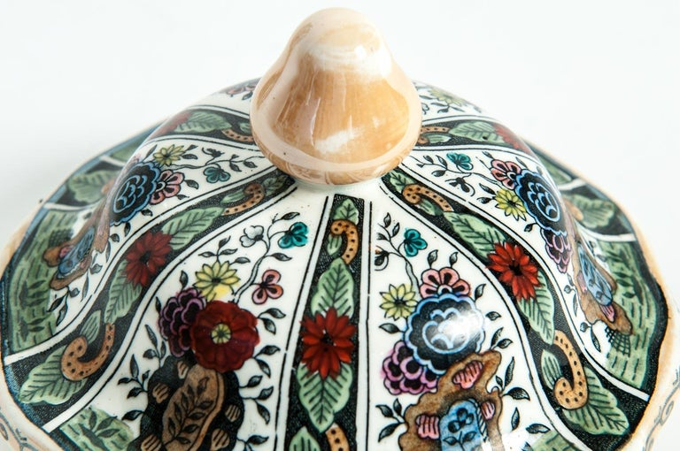 Vintage Dutch Porcelain Covered Urn In Excellent Condition For Sale In Hudson, NY