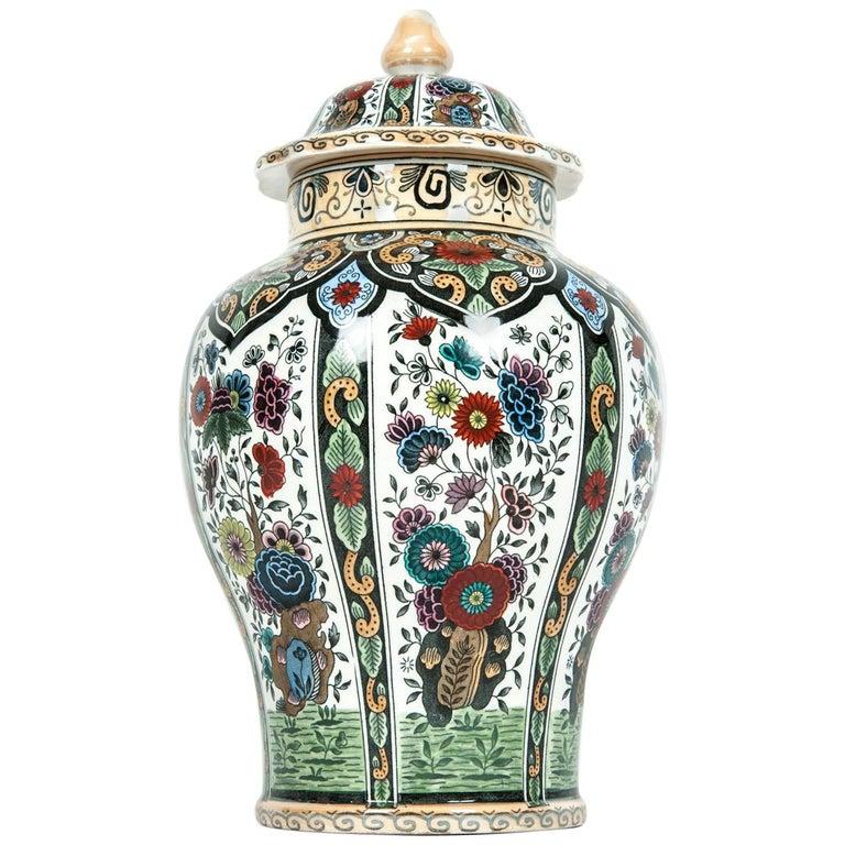 Vintage Dutch Porcelain Covered Urn For Sale