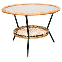 Vintage Dutch Rattan and Glass Top Coffee or Occasional Table