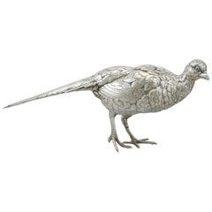 Vintage Dutch Silver Table Pheasant, circa 1990