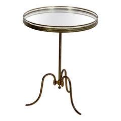 Vintage Dutch Tri Pod Mirrored Top Side Table