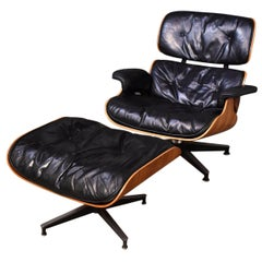 Vintage Eames Lounge Chair & Ottoman Second Generation Feather Cushions Rosewood