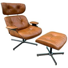 Vintage Eames Style Lounge Chair and Ottoman by Plycraft