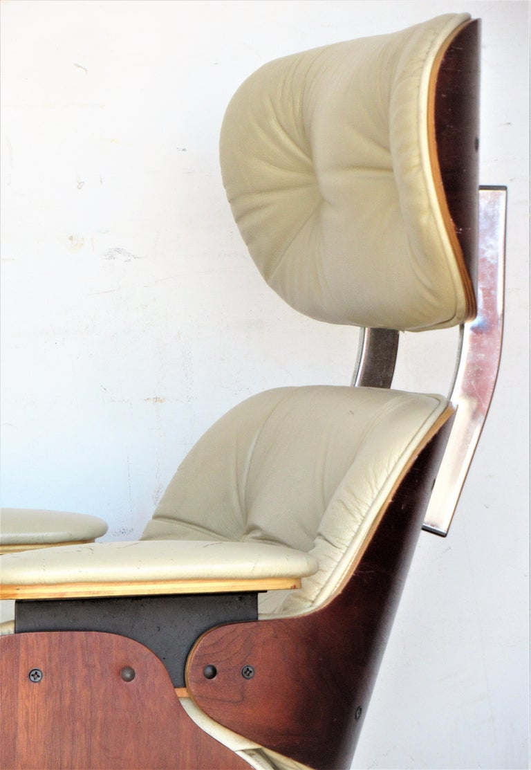 Vintage Eames Style Lounge Chair and Ottoman For Sale 11