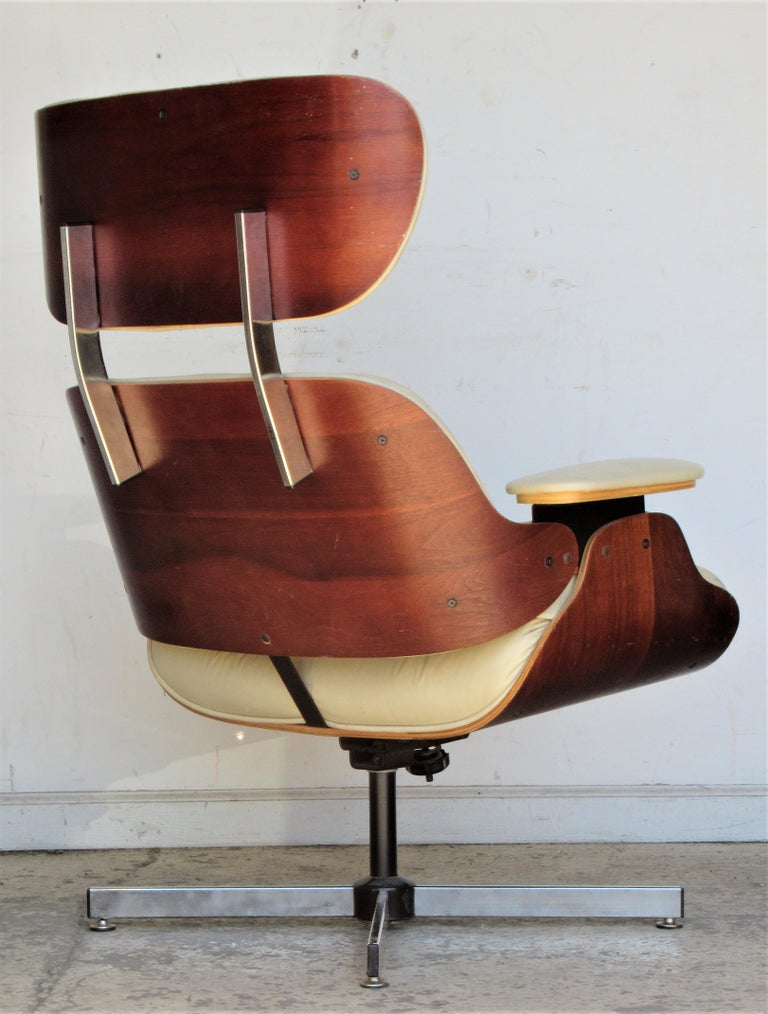 Laminated Vintage Eames Style Lounge Chair and Ottoman For Sale