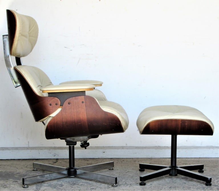 20th Century Vintage Eames Style Lounge Chair and Ottoman For Sale