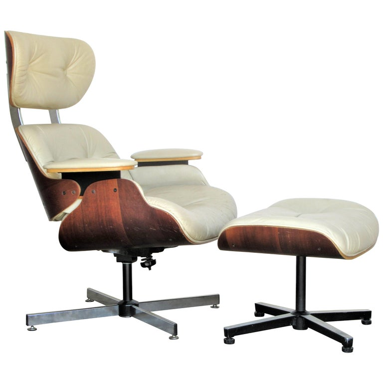 Vintage Eames Style Lounge Chair and Ottoman For Sale