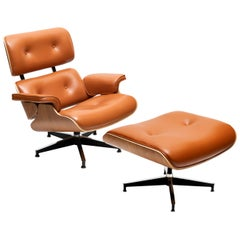 Vintage Eames Style Lounge Chair with Ottoman