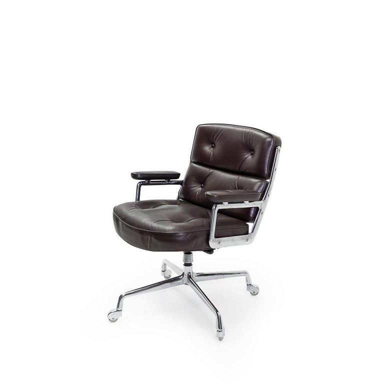 The time life lobby or executive chairs were originally designed by the Eames couple for the Time & Life Building in New York. This particular piece is a late 1970s / 1980s Vitra model.  The armchair has a swivel and tilt function (please note