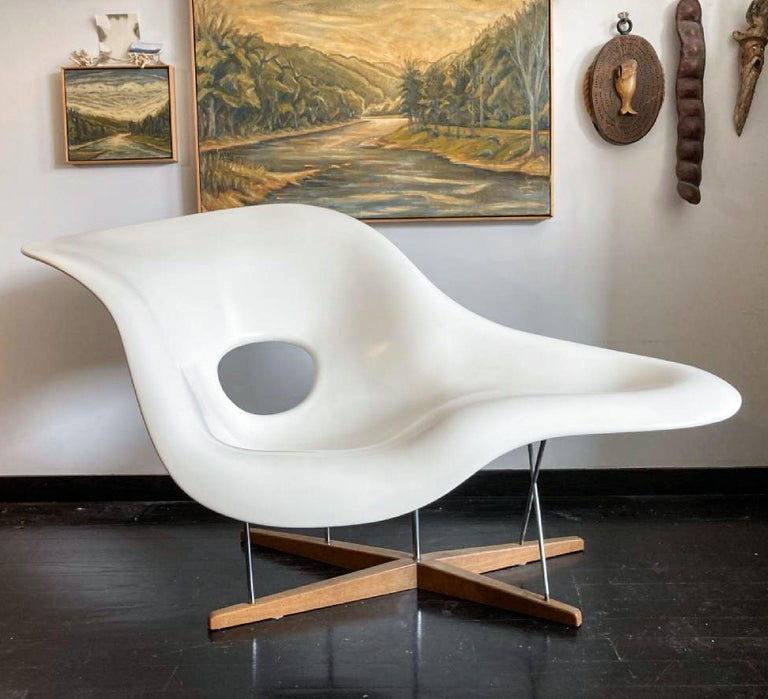 Vintage Eames Vitra La Chaise Chair, Original, Fiberglass First Generation, 1992 For Sale 8