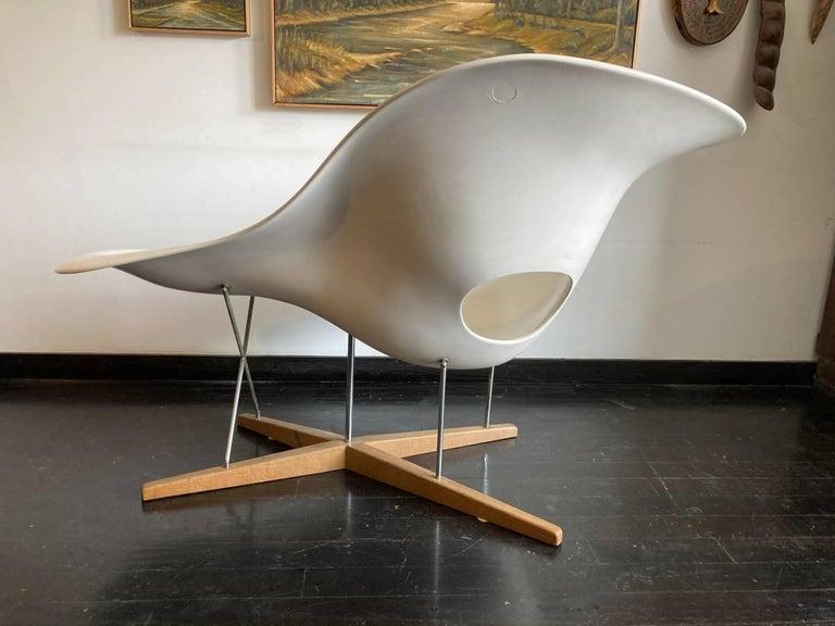 Mid-Century Modern Vintage Eames Vitra La Chaise Chair, Original, Fiberglass First Generation, 1992 For Sale