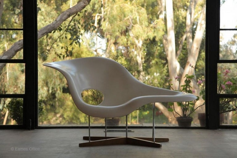 Stainless Steel Vintage Eames Vitra La Chaise Chair, Original, Fiberglass First Generation, 1992 For Sale
