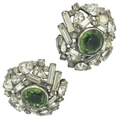 Vintage ear clip with clear rhinestones + green rhinestones 1940s
