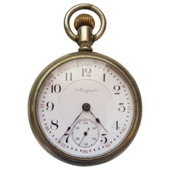 Vintage Early 1900s Elgin Silver Pocket Watch, 17 Jewel, Signed B. W. Raymond