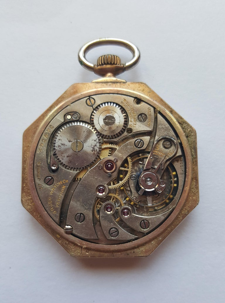 Vintage Early 1900's Gruen Verithin Pocket Watch, Yellow Gold Filled, Working, 5 Positions Adjusted, 17 Jewel, #492572, Good Condition, Art Deco Octagon Shaped Case. Black roman numerals, chronograph  This watch has not been serviced with a complete
