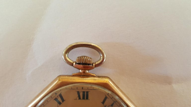 Vintage Early 1900s Gruen Verithin Pocket Watch, Yellow Gold Filled, Working For Sale 2