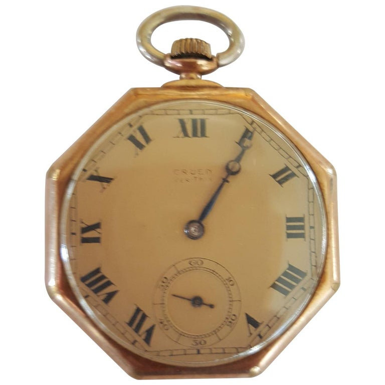 Vintage Early 1900s Gruen Verithin Pocket Watch, Yellow Gold Filled, Working For Sale