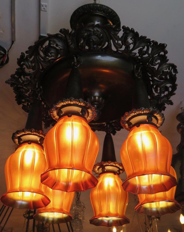 Art Nouveau Vintage Early 20th Century Bronze Fixture with Steuben Shades '6' For Sale