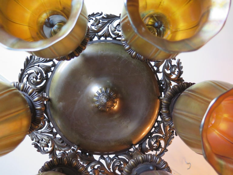 Art Glass Vintage Early 20th Century Bronze Fixture with Steuben Shades '6' For Sale