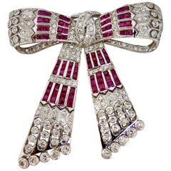 Vintage Early 20th Century Diamond and Ruby Bow Brooch