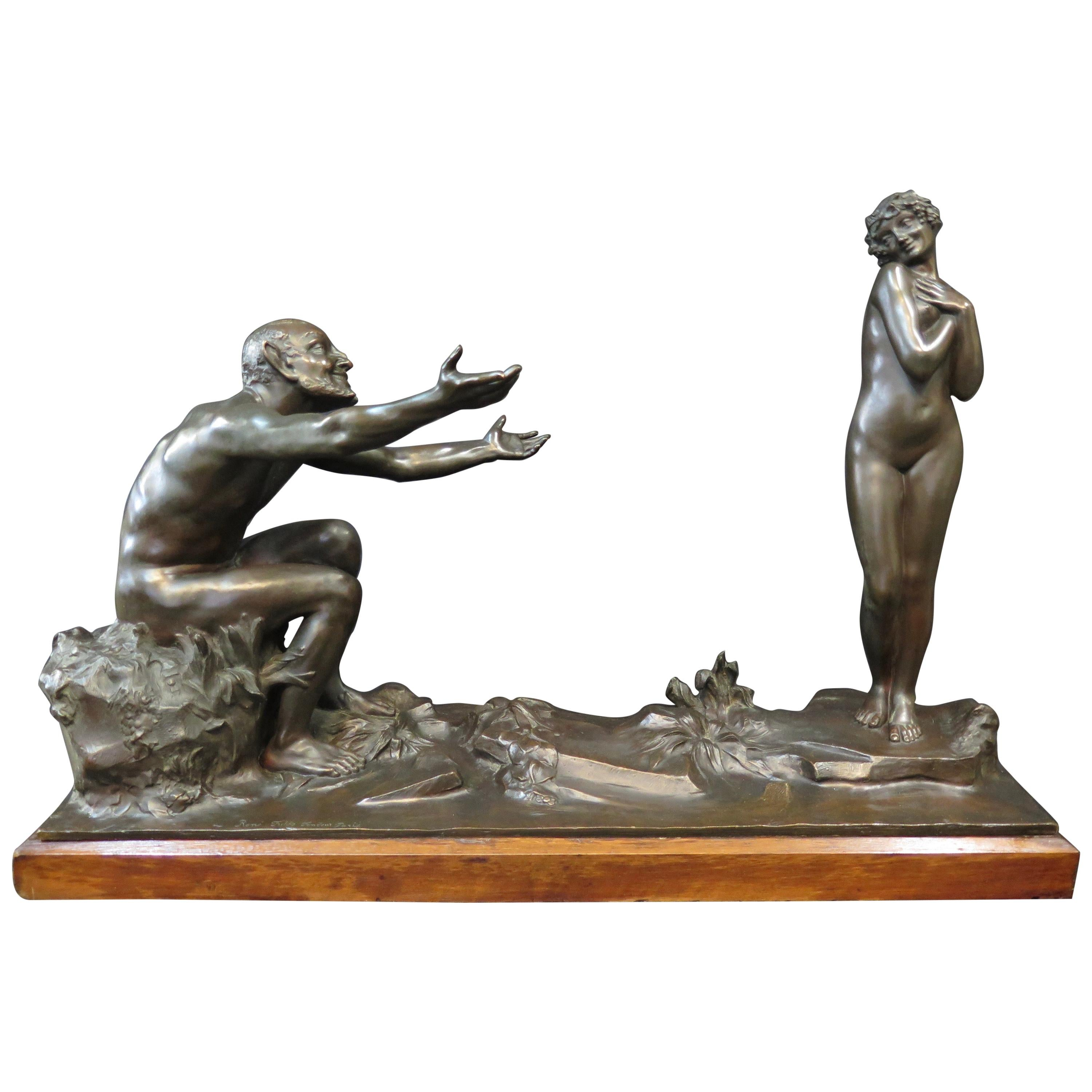 Vintage Early 20th Century Satyr & Maiden Bronze Sculpture