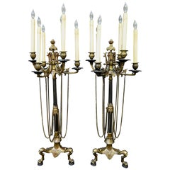 Vintage Early 20th Century Tall Edwardian Candelabra Lamps