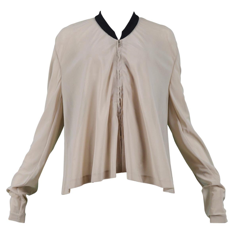 Vintage Early Helmut Lang Nude Mesh Jacket with Black Trim