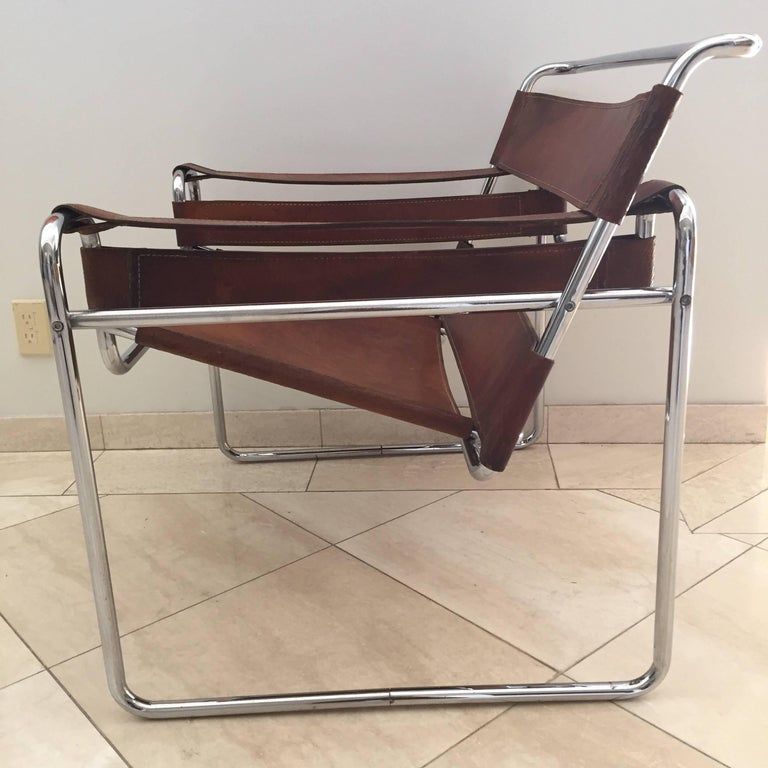 Vintage Early Original Marcel Breuer Wassily Chair for Knoll in Brown Leather For Sale 7