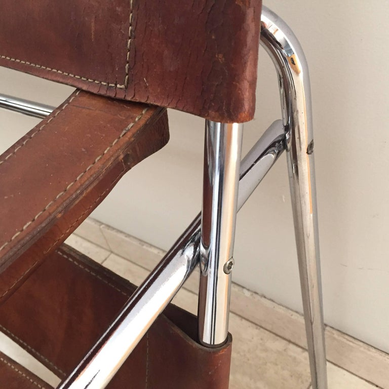 20th Century Vintage Early Original Marcel Breuer Wassily Chair for Knoll in Brown Leather For Sale