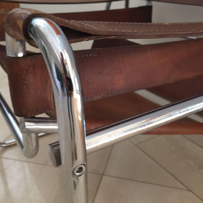 Vintage Early Original Marcel Breuer Wassily Chair for Knoll in Brown Leather For Sale 1