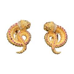 Earrings by Ilia's Lalaounis Chimera 17.3dwt 18-Karat, Rubies and Diamonds