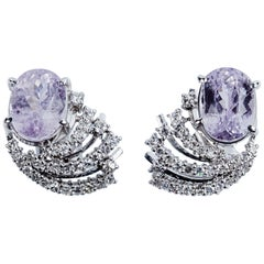 Vintage Earrings in White Gold, Faceted Kunzite and White Diamonds