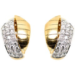 Vintage Earrings of Hooped Design in 18 Karat Gold & Diamonds, French circa 1950