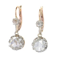 Vintage Earrings with Large Rose Cut Diamonds, 1920s