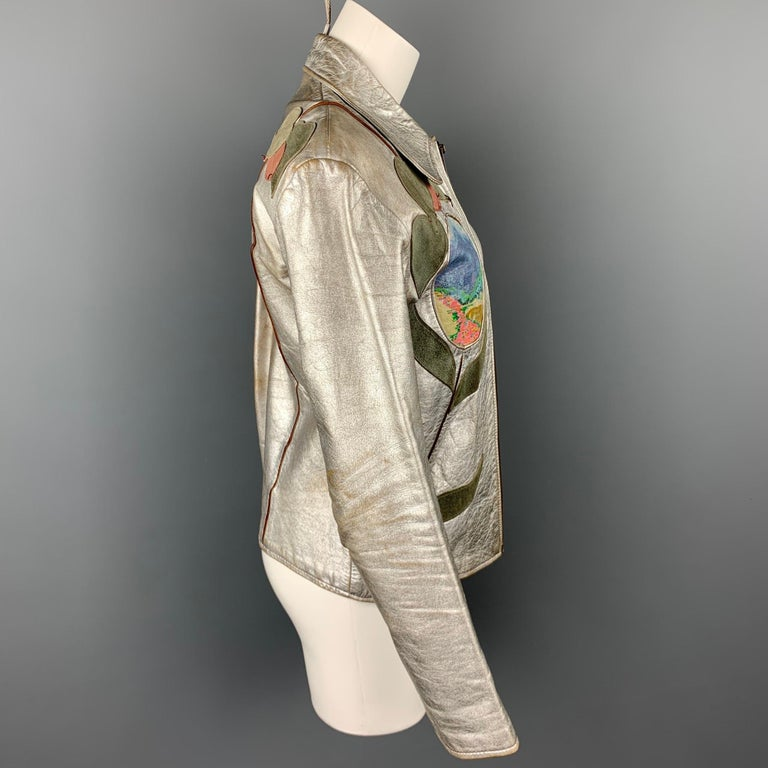 Vintage EAST WEST MUSICAL INSTRUMENTS Janti Size XL Silver Hand Painted Jacket For Sale 1