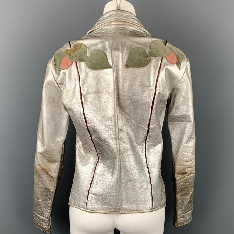 Vintage EAST WEST MUSICAL INSTRUMENTS Janti Size XL Silver Hand Painted Jacket For Sale 2
