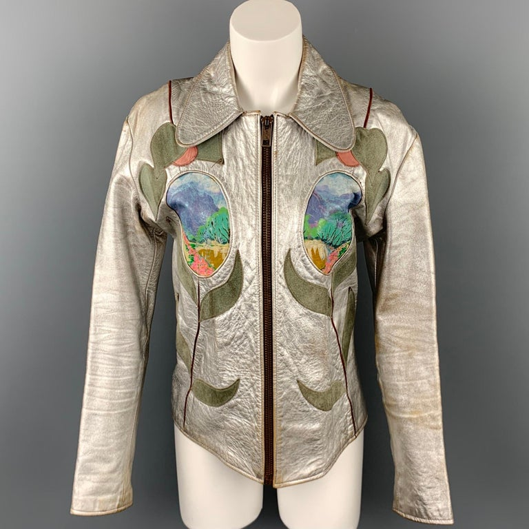 Vintage EAST WEST MUSICAL INSTRUMENTS Janti Size XL Silver Hand Painted Jacket For Sale 3