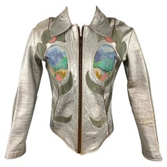 Vintage EAST WEST MUSICAL INSTRUMENTS Janti Size XL Silver Hand Painted Jacket