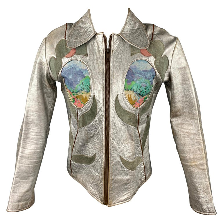 Vintage EAST WEST MUSICAL INSTRUMENTS Janti Size XL Silver Hand Painted Jacket For Sale