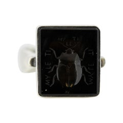 Vintage Eastern European Sterling Silver Signet Ring with Onyx Scarab Carving